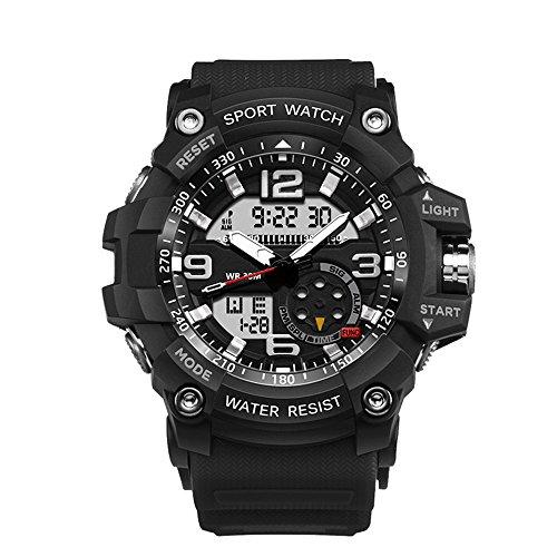 Ireloj Military Wrist Watch Large Dual Dial Analog Digital Quartz Watches Electronic Malfunction Dual Timezone Back Light Water Resistant-Black by Ireloj