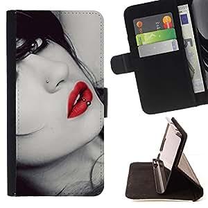 Momo Phone Case / Flip Funda de Cuero Case Cover - Lips Sensual mujer Chica Virgen rojo atractivo Gaze - Sony Xperia Z5 Compact Z5 Mini (Not for Normal Z5)