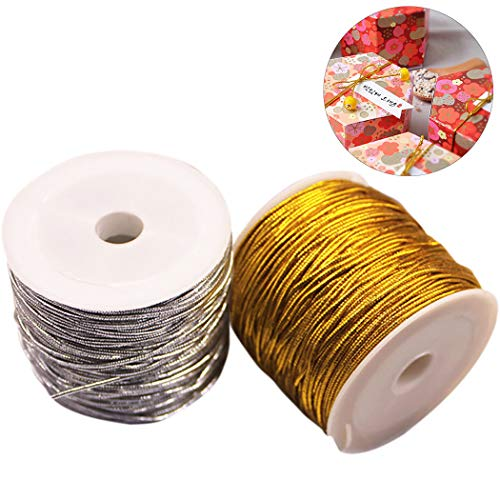 Coxeer 2 Roll 82 ft Metallic Cord Creative Elastic Tinsel Metallic String Gift Wrap Cord Craft Making Cord, Gold and Siver