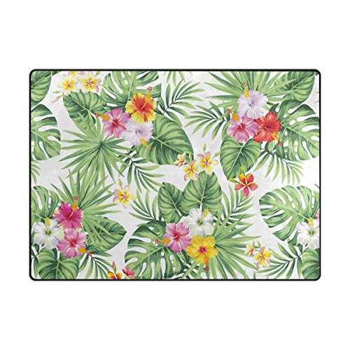 ABLINK Non-slip Area Rugs Home Decor, Stylish Tropical Hawaiian Flowers and Palm Leaves Durable Floor Mat Living Room Bedroom Carpets Doormats 80 x 58 inches