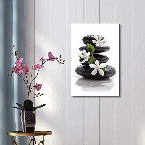 Zen Basalt Stones with Calming Magnolia Flowers Wall Decor ation