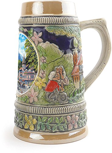 """Summer In Germany"" Essence of Europe Gifts E.H.G. Collectible Ceramic Shot Glass Mini Beer Stein (#1 in Collection of Four Shot Steins)"