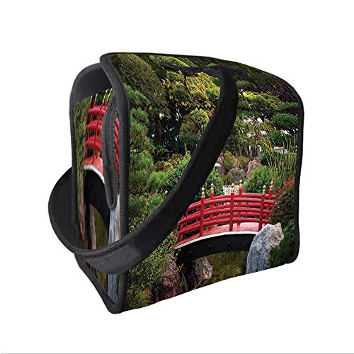 Neoprene Lunch Tote Bag with Shoulder Strap,Apartment Decor,Tiny bridge Over Pond Japanese Garden Monte Carlo Monaco Along With Trees and Plants Decorative,for boys girls and adults