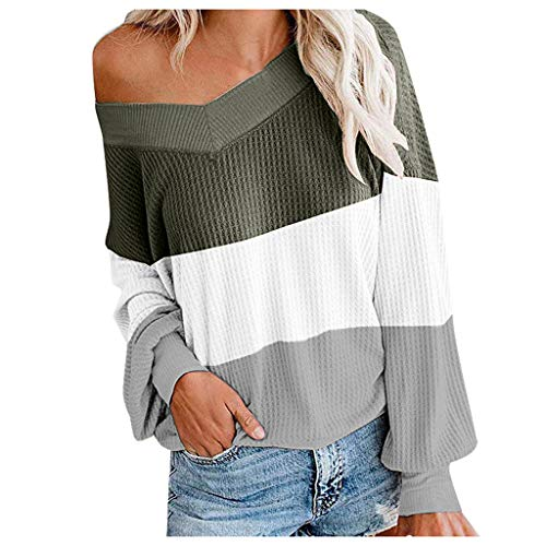 Women's Off Shoulder Color Block Loose Fit Sweater Long Sleeve Oversized Knit Pullover Tops Gray