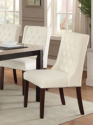 (Daria 2 White Faux Leather/Solid Wood Dining Chairs by Poundex)