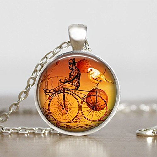 Vintage Bicycle Pendant Steampunk Necklace Round Handmade Jewelry Sooty Christmas Party