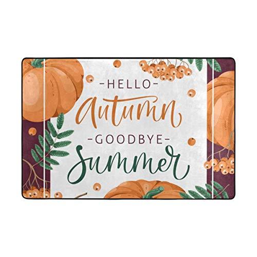(CANCA Hello Autumn Fall Pumpkin Halloween Thanksgiving Day Area Rug Cover Runner Floor Mat Carpet for Kids Boys Girls Bedroom Kitchen Office 60x39 inch or 5x3)