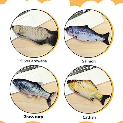 HLovebuy Catnip Fish Toys, Realistic Plush Simulation Electric Doll Fish,Cat Wagging Fish Realistic Plush Toy, Simulation Catnip Soft Interactive Chewing Toy for Cat/Kitty/Kitten 7