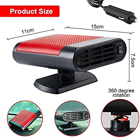 Acidea Car Heater Windshield Defogger Portable 12V 150W Electric Automobile Defroster Heater with 30 Seconds Fast Heating Demister Red Car Amplifier Heating /& Cooling Fans