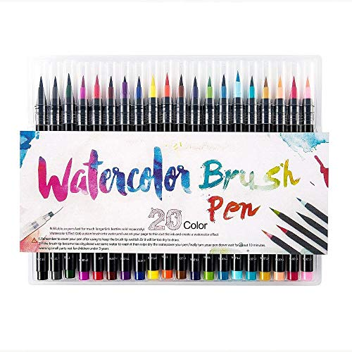 20 Pieces Color Brush Pens Set Watercolor Brush Pen Color Markers for Painting Cartoon Sketch Calligraphy Drawing Manga…