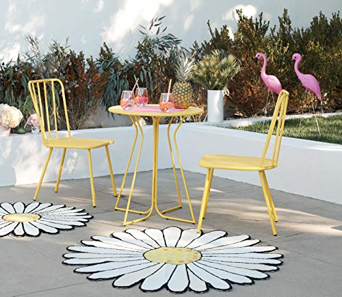 Novogratz 87815YLW1E 3 Piece Poolside Heidi Outdoor Bistro Set, Yellow