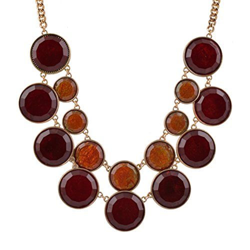 Pin Up Girl Costumes Ebay (Romantic Time Round Flat 2 Row Shape Bib Collar Statement Chunky Necklace Chain Jewellery (Red))