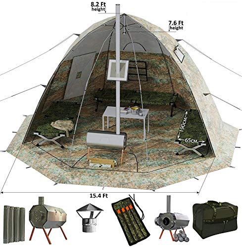 - Winter Tent with Wood Stove Pipe Vent. Hunting Fishing Outfitter Tent with Wood Stove. 4 Season Tent. Expedition Arctic Living Warm Tent. For Fishermen, Hunters and Outdoor Enthusiasts. UP-5