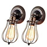 Vintage Wall Sconce Industrial Lighting,Gladfresit Adjustable Socket Rustic 1 Light, Wire Metal Cage Wall Lamp Indoor Home Retro Oil Rubbed Bronze Lights Fixture (2 Pack)