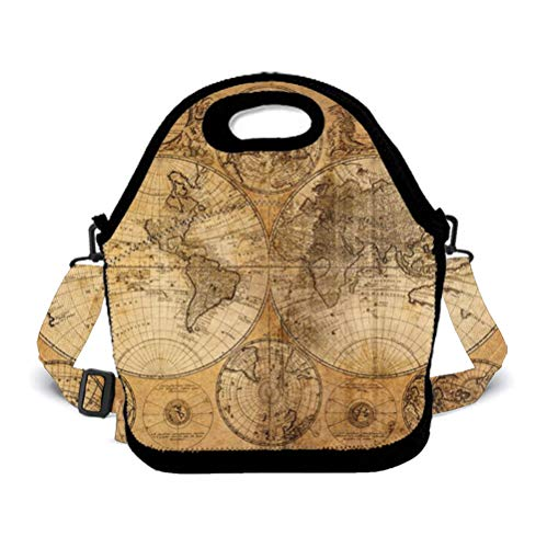 Prep Containers/Insulated Lunch Bag World Map Food Containers Lunch Box Bag For Meal Prep, Leak-Proof, Quick And Simple Organization ()