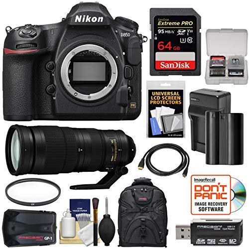 Nikon Gp1 Gps Adapter - Nikon D850 Wi-Fi 4K Digital SLR Camera Body with 200-500mm f/5.6E VR Lens + 64GB Card + Battery & Charger + Backpack + GPS + Filter + Kit