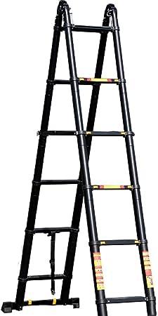 Escalera extensible Escalera telescópica Escalera telescópica de ático con escalones anchos, escaleras extensibles plegables portátiles altas negras para el hogar de la oficina del desván del techo, 3: Amazon.es: Hogar
