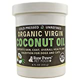 Raw Paws Pet Organic Virgin Coconut Oil Supplement for Dogs & Cats, 8-ounce - Relieves Itchy Skin - Immune Support - Digestive Aid - Hot Spot Treatment - Arthritis Pain Relief - Hairball Remedy