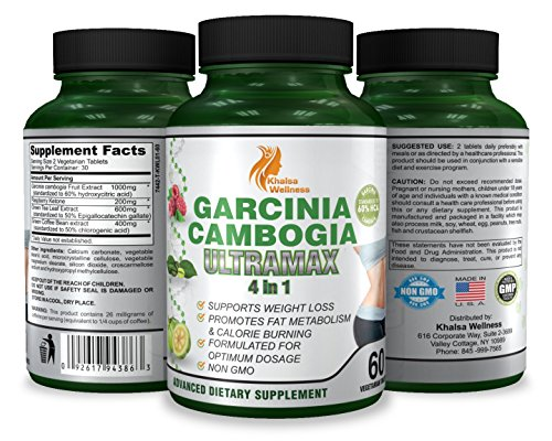 Garcinia Cambogia Weight Loss Supplement by Khalsa Wellness - 60 Tablets - Safe & Effective with 60% HCA - 100% Pure Premium Extract for Fast Fat Loss - Non-GMO, Gluten-Free & Vegetarian Safe