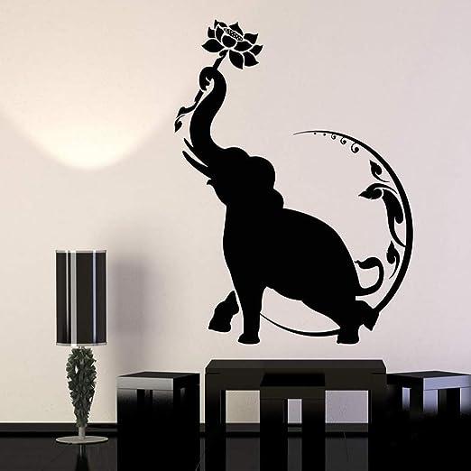 yaoxingfu Tatuajes de Pared Elefante Flor de Loto Luna Budismo ...