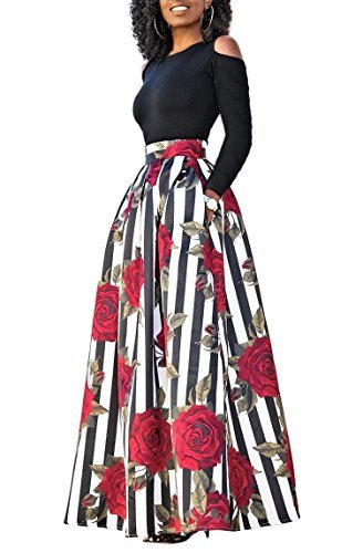 Skirt Satin Floral Suit (Women's Cold Shoulder Two Piece Rose Floral Print Pockets Skirts Maxi Long Dress Suits, Red 2, Large)
