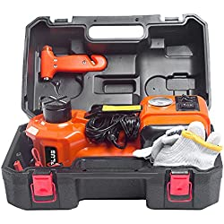 M PLUS 3 in 1 12V DC 5T (11023lb) Electric Hydraulic Floor Jack With inflator pump and Flashlight Portable Car Repair Tool Kit Ideal For Vehicle Repairing and Tire Replacing