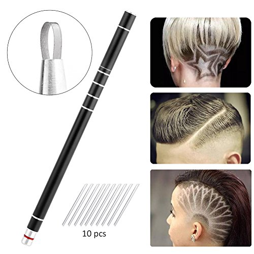 Razor Pen Kit for Hair Art, SYU Professinal DIY Hair Tattoo Tool for Hair Cut Design, Eyebrow Shaping, Beard Shaping. Included 10pcs Blades and 1pc Tweezer for Barber Hairdresser Women Man Home Salon from SYU
