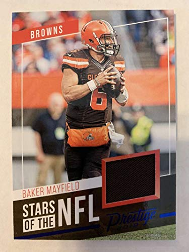 2019 Prestige Stars of the NFL Xtra Points Blue Jersey MEM #22 Baker Mayfield Cleveland Browns Official Panini Football Trading Card from 2017 Prestige Football