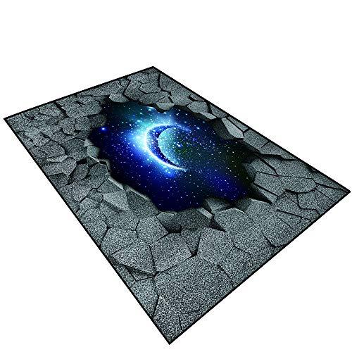 3D Modern Luxury Rug 3D Effect Trap.Dark Cracked Broken Hole in Concrete Wall.017 Toilet Floor Door ()