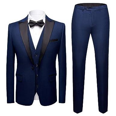 Sliktaa Costume Homme 3 Pièces Formel Slim Fit Classique Smoking de Mariage  Business Bal Veste Gilet 3f34035c389