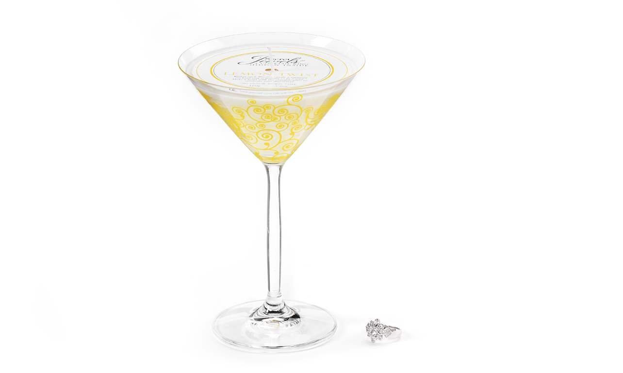 Secret Jewels Lemon Twist Candles Martini Glass Candle