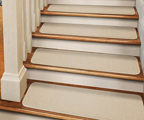 [Set of 12 Tape-Down Carpet Stair Treads - Ivory Cream - 8 In. X 30 In. - Several Other Sizes to Choose From] (Ivory Cream Marble)
