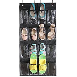 Misslo 16 Clear Pockets Over the Door Shoe Organizer Hanging Closet Storage