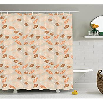 Pattern With Pearls Seashells An Oysters Natural Marine Life Style Decor Beach Theme Polyester Fabric Bathroom Shower Curtain Set Hooks Tan Peach