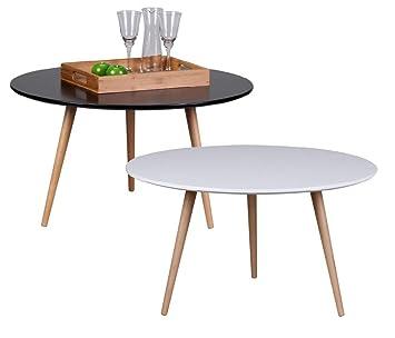 Design Couchtisch SKANDI 80 x 80 x 45 cm Form Rund Skandinavischer Retro  Look | Matt Lackierter Wohnzimmertisch mit Holz-Gestell | Wohnzimmer Möbel  ...