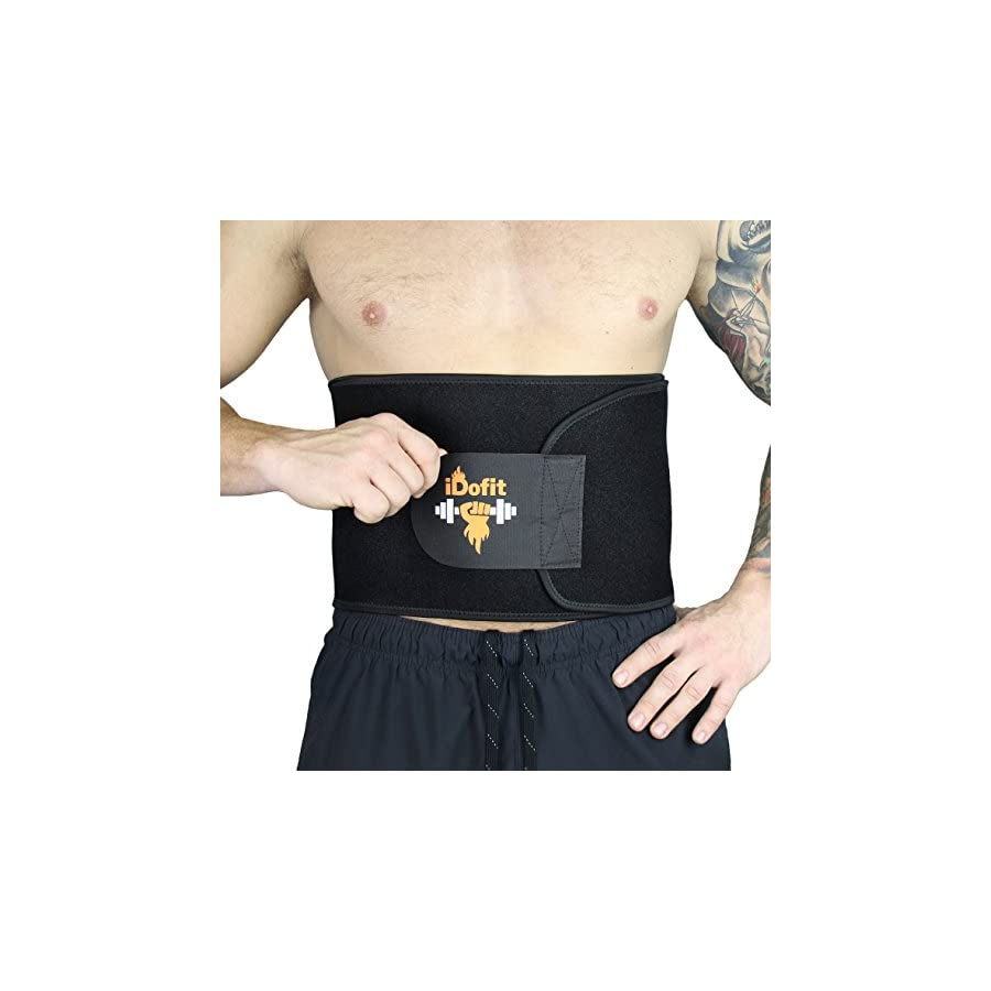iDofit Premium Adjustable Waist Trimmer Belt Sauna Belt Weight Loss Band Slimming Stomach Wrap Belly Fat Burner Sweat Tummy Wraps Abdominal Slimmer Lumbar and Low Back Support for Men and Women