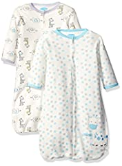 100 percent cotton 2 pack wearable blanket set with all-over print design and snap front closure for easy on off dressing.