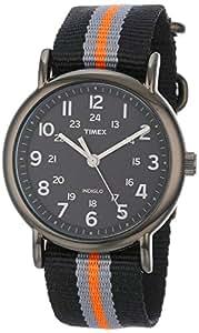 Timex Unisex T2N892 Weekender Slip-Thru Black with Gray and Orange Stripes Nylon Strap Watch