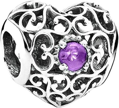 Women S February Signature Heart Birthstone Charm Sterling Silver Fit Pandora Bracelet Necklace Price In Uae Amazon Uae Kanbkam