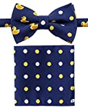 Canacana Rubber Duck Woven Microfiber Pre-tied Boy's Bow Tie with Polka Dots Pocket Square Gift Box Set - Navy Blue - 8-10 years, Christmas gift