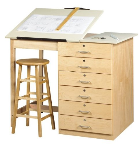 Diversified Woodcrafts DT-8A UV Finish Solid Maple Wood Art/Drafting Table with Drawer, Plastic Laminate Top, 48'' Width x 39-3/4'' Height x 32-1/2'' Depth