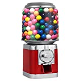 Mophorn Gumball Candy Vending Machine Durable Metal Candy Dispenser Machine 375 of 1'' Gumballs Capacity $150 in Quarters Gumball Dispenser Piggy Bank Bulk Vending Gumball Machine (Red)