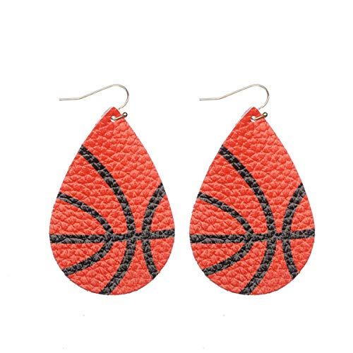 Layered Leather Earrings Handcrafted Unique Geometric Jewelry for Women (E- basketball)]()