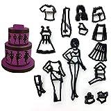 Braceus 12Pcs Fashion Girl Clothes Dress Biscuit Mold Cookie Cake DIY Decorating Tool Black