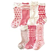 Toptim Baby Girl's Socks Princess Non-skid Socks for Infants and Toddlers Value Pack (7 Pairs Pink)