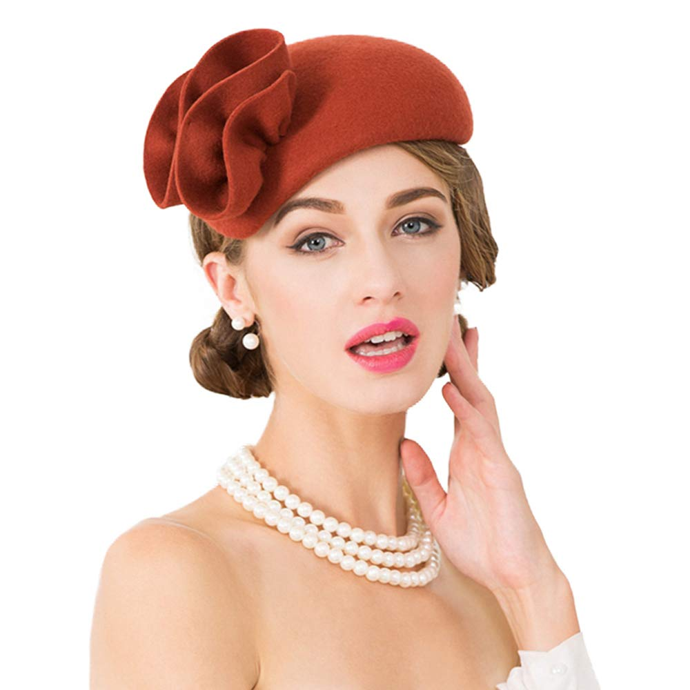 Women's Vintage Hats | Old Fashioned Hats | Retro Hats Flower Womens Dress Fascinator Wool Felt Fedora French Pillbox Hat Party Wedding $39.98 AT vintagedancer.com