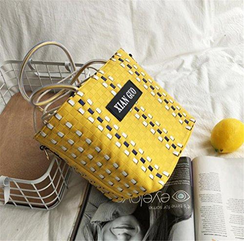 de tissu jaune centrale shopping d'unité z portable paille bord haute qualité en mer la Elegence au de généreux Sac E0fq4f