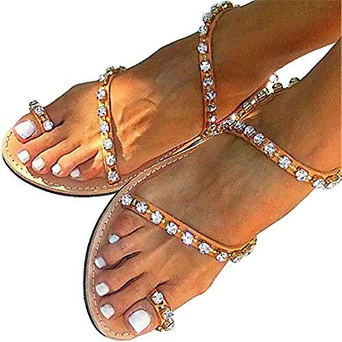 le Bohemian Rhinestone Toe Ring Beach Slippers Flat Sandals Size 8.5 ()