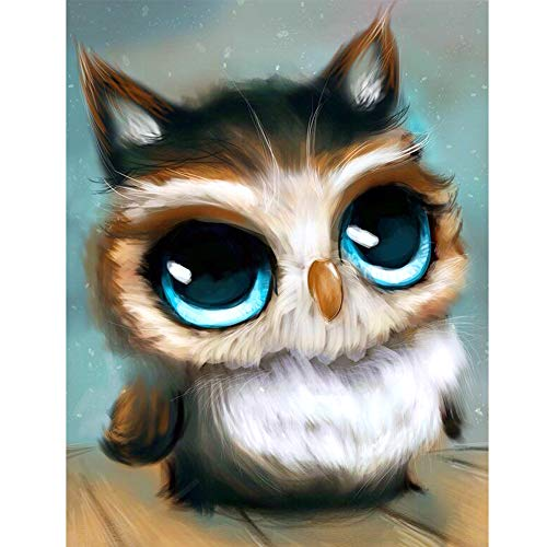"100% Full Round 5D Diamond Painting Kit Crystal Rhinestone Diamond Cross Stitch DIY Home Decoration Diamond Embroidery 12""x18"", Owl"
