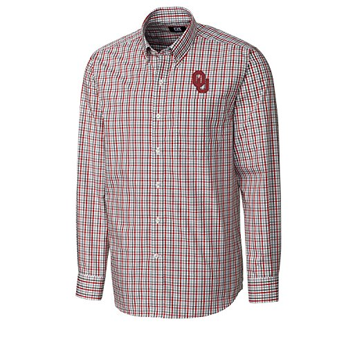 Long Sleeve Embroidered Oklahoma (NCAA Oklahoma Sooners Men's Long sleeve Gilman Plaid Shirt, Large, Cardinal Red)